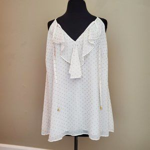 INC White and Gold Polka Dot Tank Top Size 1X